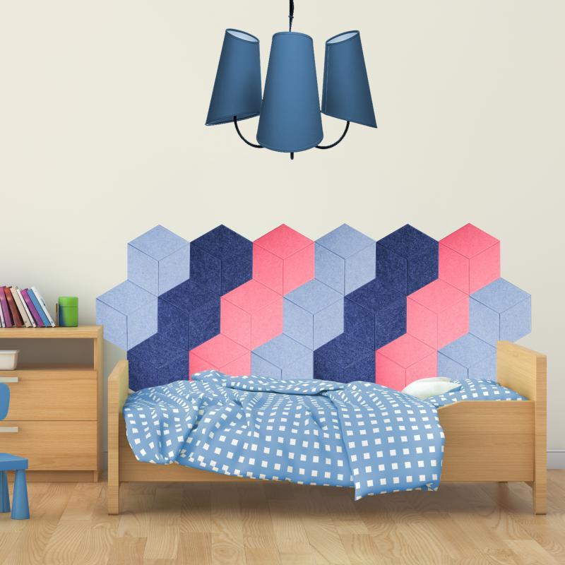 Шумопоглащающие панели для детской комнаты MyMatto - Сота голубой фото
