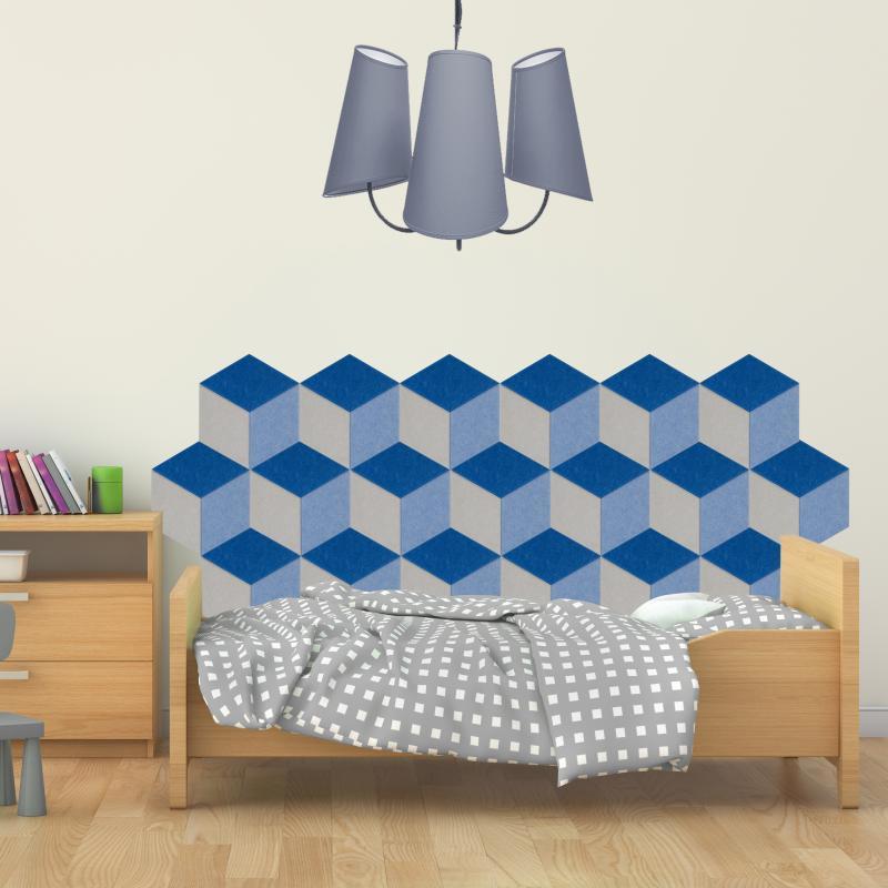 Шумопоглащающие панели для детской комнаты MyMatto - Ромб синий фото