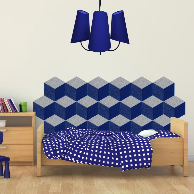 Декоративные настенные панели из ЭКО-войлока MyMatto - Ромб пудровый фото