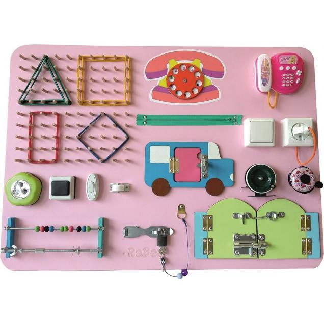 Бизиборд-геоборд  розовый 70 х 50 см
