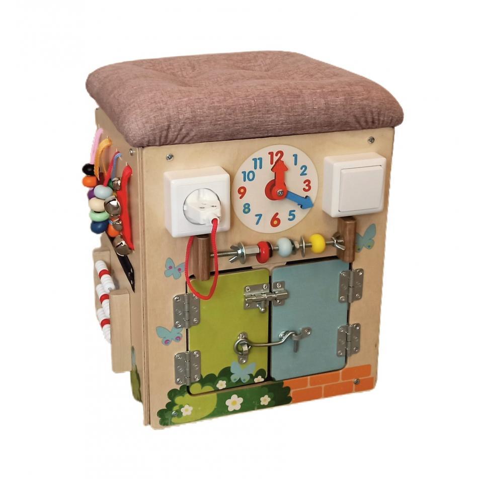 Бизикуб для игрушек развивающий Замочки с мягким верхом