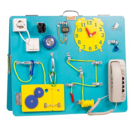 Бизиборд Классик с магнитно-меловой доской Голубика 50х60
