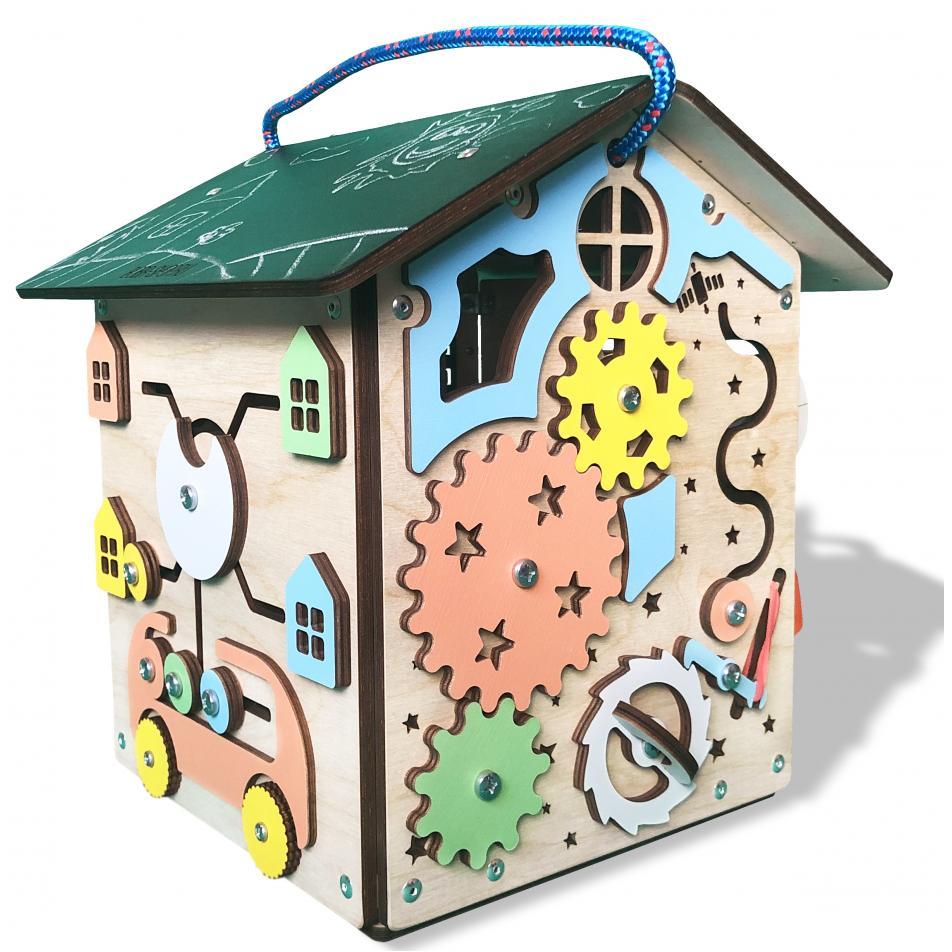 Бизиборд дом «Радужный» 28х28х30 см