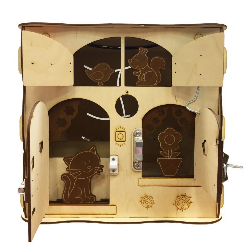 Развивающая игрушка БИЗИКУБ 40х40х40 см (5 бизибордов в 1) фото