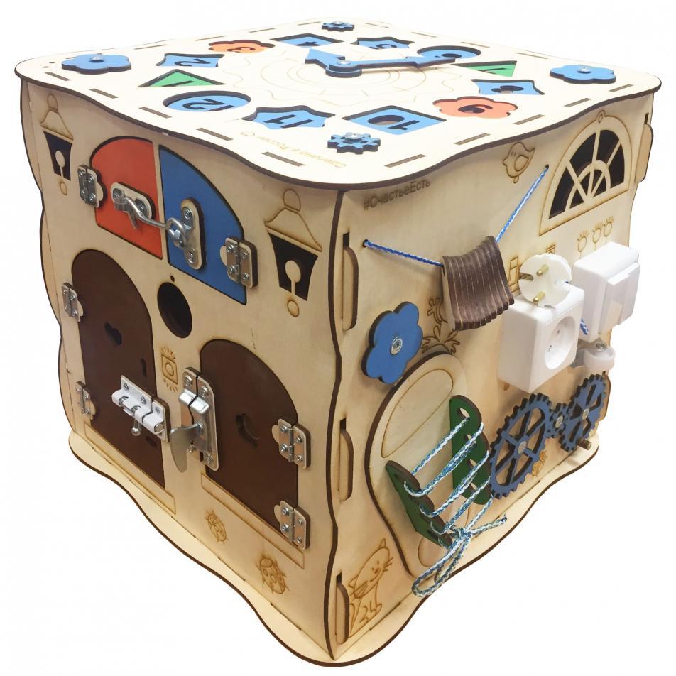 Развивающая игрушка БИЗИКУБ 40х40х40 см (5 бизибордов в 1)