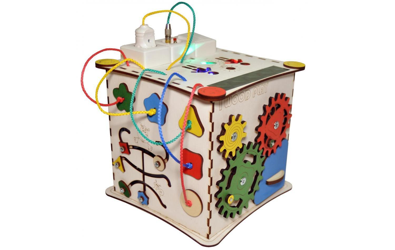 Видео обзор Бизикуб I Wood Play с электрикой 25х25 см