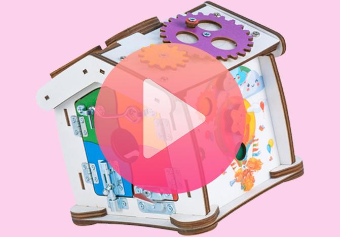 Видео обзор Бизиборд домик Знайка Семицвет Кроха со светом