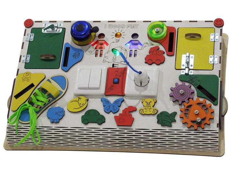 Видео обзор Бизиборд наклонный с электрикой I wood play